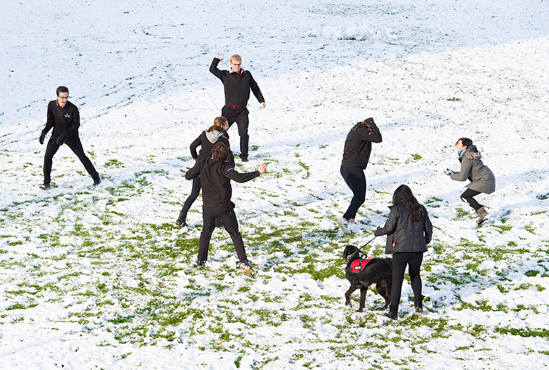 Student snowball fight
